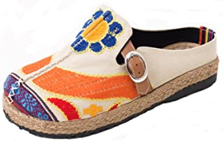 d0df1abe693de Yooeen Women's Comfortable Summer Walking Slippers Colorful Clogs Garden  Shoes Sun Flower Chinese Style Embroidered Shoes