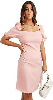 فستان للنساء، اسود - فساتين ضيقة بودي كون متوسطة الطول بقبة مربعة ولون واحد باكمام منتفخة