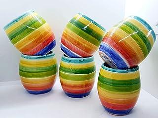 Set 6 Bicchieri Linea Policroma Ceramica Realizzata e dipinta a mano Le Ceramiche del Castello Made in Italy dimensioni 10...