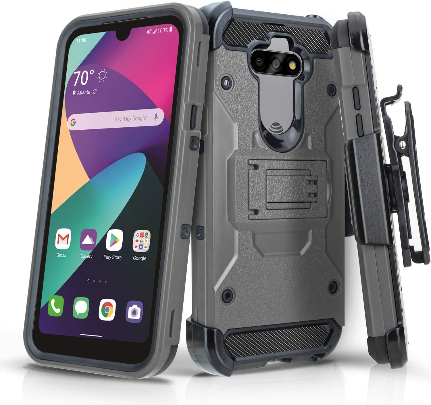 CasemartUSA Phone Case for [LG Phoenix 5 (AT&T Prepaid Phone)], [Tank Series][Gray] Heavy Duty Shockproof Cover with Built-in Kickstand & Swivel Belt Clip Holster for LG Phoenix 5 (AT&T)