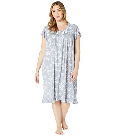 Eileen West Plus Size Modal Spandex Jersey Knit Short Sleeve Waltz Nightgown (Silver/Grey Ground Floral) Women