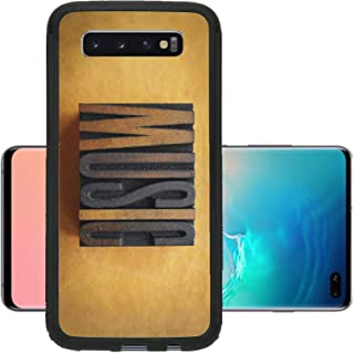 Liili Phone Case Designed for Galaxy S10 Plus Case Aluminum Backplate Bumper Snap Case The Word Music Written in Vintage Letterpress Type Image ID 23066331