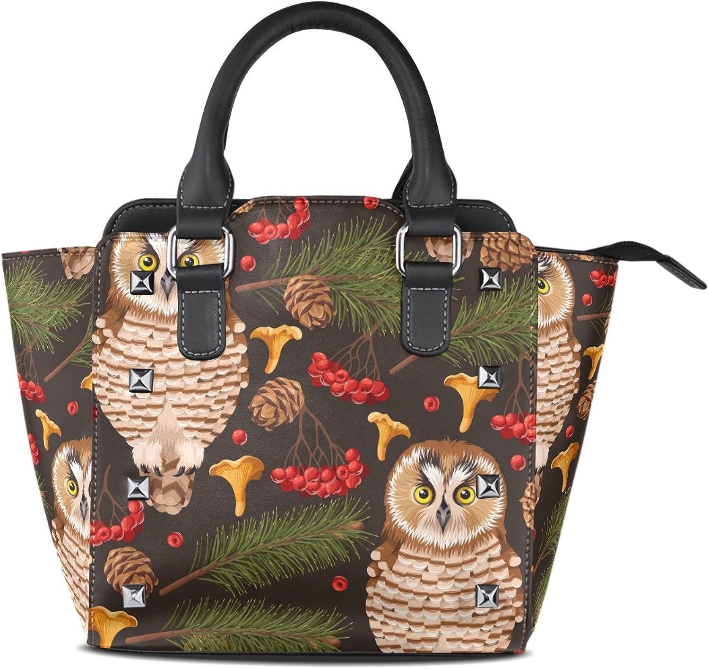 My Little Nest Women's Top Handle Satchel Handbag Forest Owl Ladies PU Leather Shoulder Bag Crossbody Bag