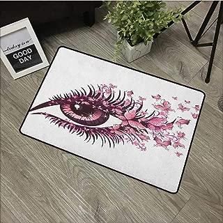 Bathroom Door mat W35 x L47 INCH Butterflies,Fairy Female Eye with Butterflies Eyelashes Mascara Stare Party Makeup, Pale Pink Purple Non-Slip Door Mat Carpet