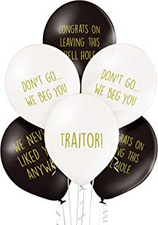 Office Leaver Funny Balloons - Pack of 12 Premium White and Black Balloons
