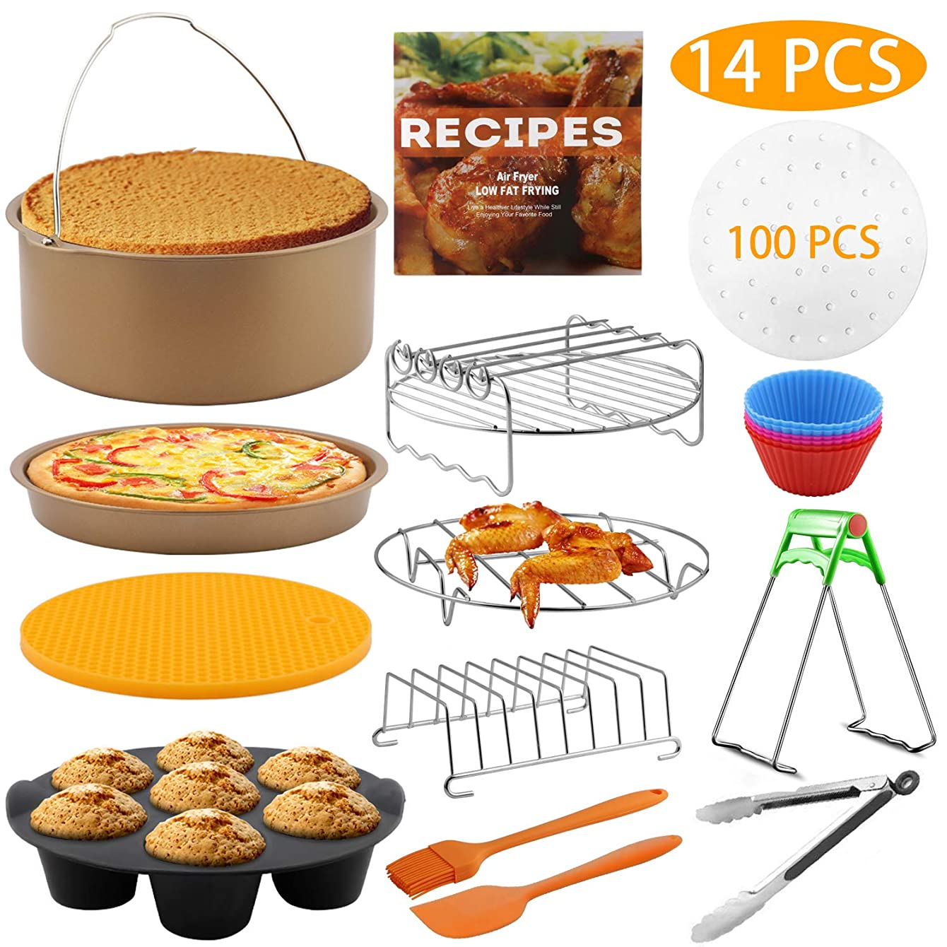 Air Fryer Accessories, 14pcs XL Deep Fryer Accessories for Gowise Phillips Cozyna Ninja 4.2/4.5/5.5/5.8/6.5 QT with Recipe Cookbook, Rust Proof 8'' Cake Barrel, Pizza Pan, 9'' Air Fryer Liners, Brush