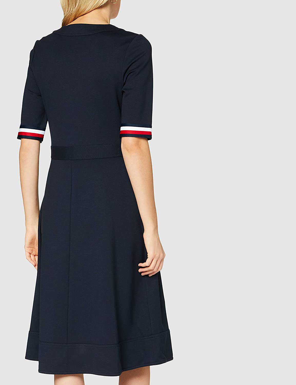Tommy Hilfiger Damen Punto Milano V Neck Dress Ss Kleid  Amazon ...
