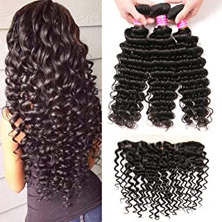 VRBest Brazilian Deep Wave with Lace Frontal Ear to Ear 13x4 Closure with Bundles 8A 100% Unprocessed Virgin Human Hair Bundles Free Frontal Black Color (14 16 18+12 frontal)