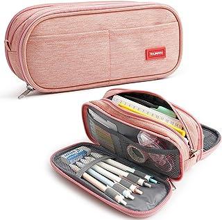 Grand étui Trousse à Crayons Capacité pochette Porte-stylo 3 Compartiments Scolaires Papeterie Sac de Maquillage Organisat...