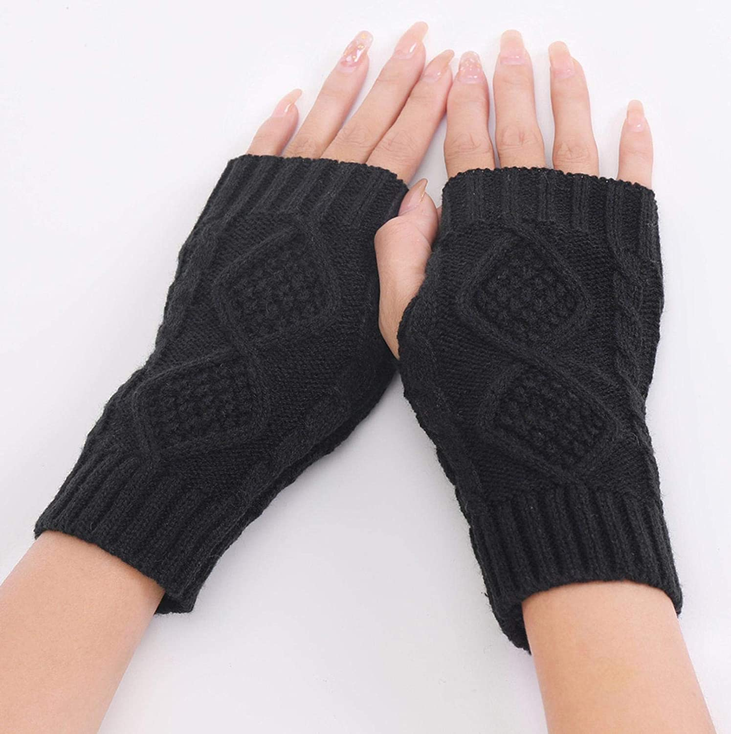 BAOSHU Ladies Winter Warm Thicken Knitted Fingerless Comfortable Stretchable Touch Screen Solid Color Outdoor Gloves (Black)