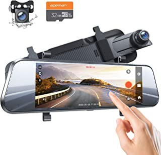 """APEMAN Dash Cam Dual 1080P Front and Rear, 7"""" IPS Anti-Glare Touch Screen, Rear View Mirror Backup Camera for Car with Par..."""