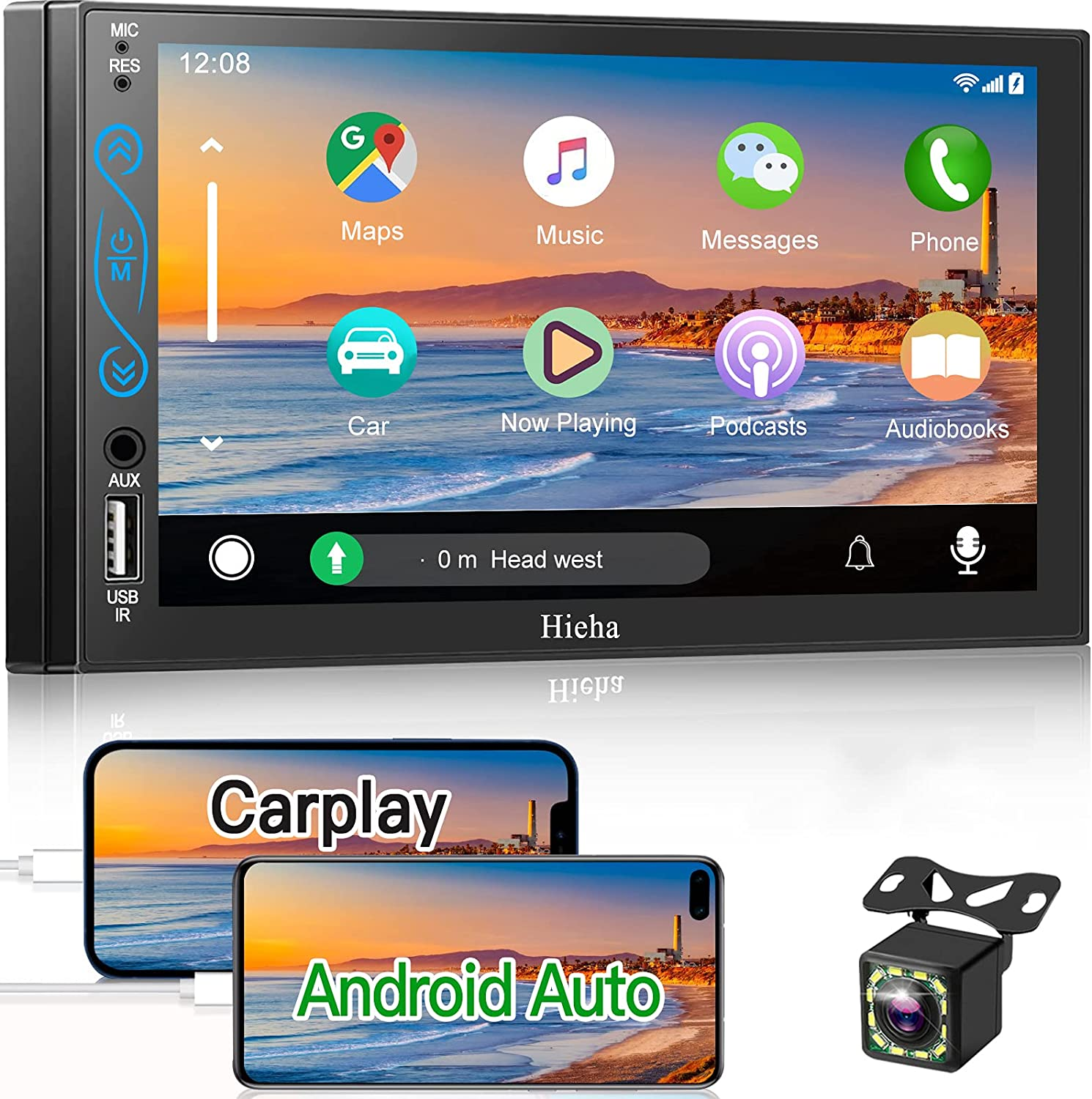 Double Din Car Stereo Compatible with Apple Carplay and Android Auto,HieHa 7 Inch HD Touch Screen,Car Multimedia Player with FM Radio,Backup Camera,Mp5 Player(A/V Input),Bluetooth,Mirror Link,SWC