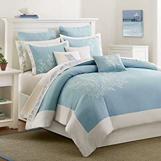 Harbor House Coastline Duvet Cover King/Cal King Size - Blue , Jacquard Coastal Coral Duvet Cover Set – 3 Piece – 100% Cotton Light Weight Bed Comforter Covers