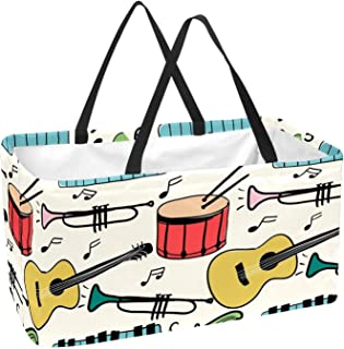 Music Instruments Piano Guitar Drum Pattern Reusable Collapsible Durable Grocery Shopping Bag - Heavy Duty Large Structure...