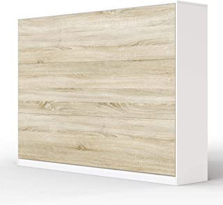 SMARTBett Basic Armoire Lit escamotable Lit Rabattable Lit Mural (Blanc/Chęne Sonoma, 140 Horizontal)