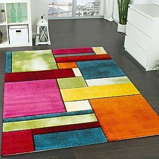 Paco Home Alfombra De Diseño Moderna De Colores Moteada Llamativa Verde Azul Naranja Rosa, tamaño:80x150 cm