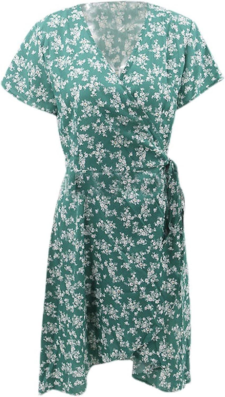 LODDD Women's V Neck Short Sleeve Knee-Length Party Dress Fashion Print Top Casual Midi Dress