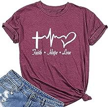MAXTREE Women Faith Hope Love Graphic Tees Cute T-shirts