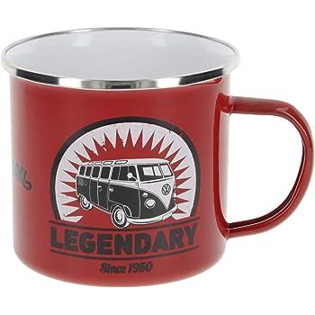 Brisa VW Collection - Volkswagen Furgoneta Hippie Bus T1 Van Taza de Café metálica Esmaltada en Caja de Regalo, Copa de Té, Decoración de la Mesa/Outdoor/Camping/Souvenir (Vintage Logo/Rojo): Amazon.es: Hogar