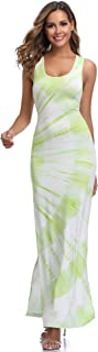 Windtear Women's Sleeveless Racerback Printed Bodycon Maxi Dress