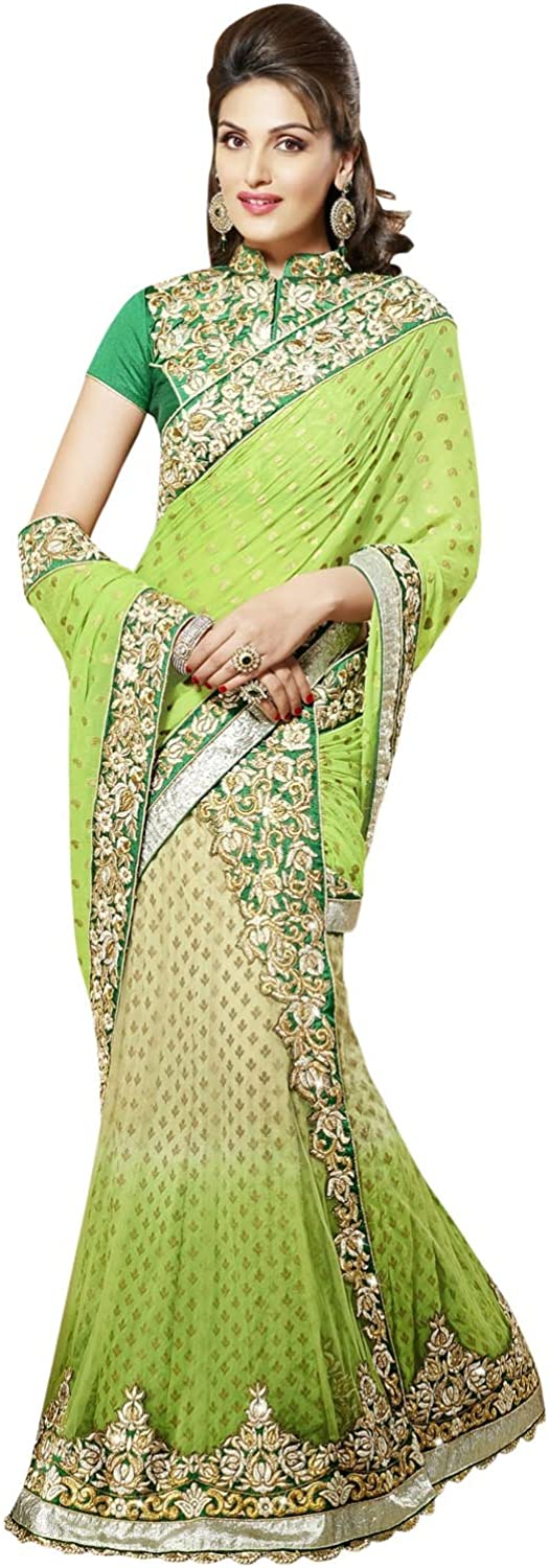 INMONARCH Womens Fantastic Light Green And Beige Lehenga Saree SSA3322