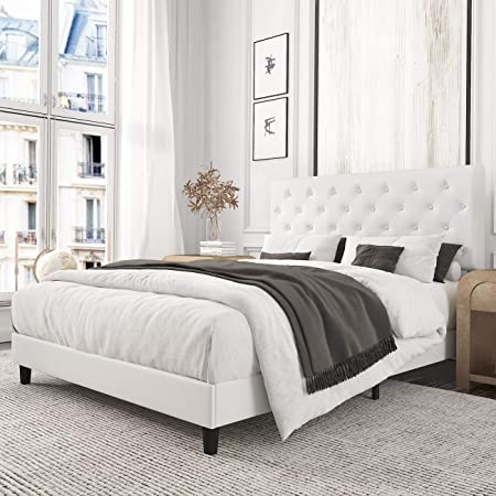 Modway Anya Upholstered White Full Platform Bed With Wood Slat Support Kitchen Dining