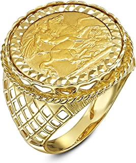 (20mm x 20mm, P) - Theia Men's 9 ct Yellow Gold Diamond Cut Patterned Set with 22 ct Sovereign Coin Ring