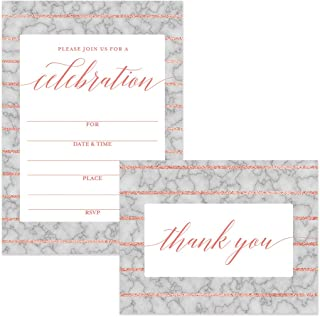 Celebrate All Occasion Invitations (100) & Matching Thank You Cards (100) Set with Envelopes Office Birthday Graduation Large Party Fill-in Invites & Folded Thank You Cards Best Value Combination