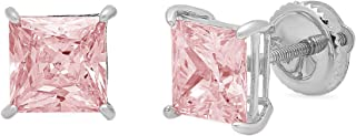 2.0 ct Brilliant Princess Cut Solitaire Pink Simulated Diamond CZ VVS1 Ideal Anniversary gift Stud Earrings Real Solid 14k White Gold Screw Back, Clara Pucci