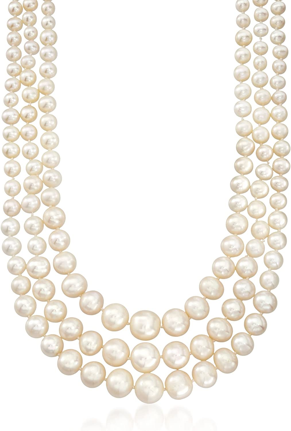 Ross-Simons 6-12.5mm Cultured Pearl 3-Strand Necklace With 14kt Yellow Gold