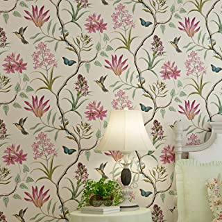 TaoGift Peel and Stick Vintage Floral Wallpaper Self Adhesive Non-Woven Butterfly Birds Flower Contact Paper Kitchen Bathroom Backsplash Wall Paper Mural Sticker (Beige, 20.86inx16ft)