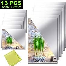 12 Pieces Self Adhesive Acrylic Mirror Sheets, Flexible Non Glass Mirror Tiles Mirror Stickers for Home Wall Decor, 6