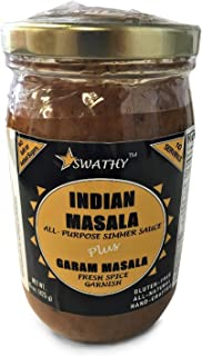 SWATHY Indian Masala Curry Simmer Sauce by Flavor Temptations. Supports Food Charity, 2 pack, Vegan, Gluten-Free, Salt-Free. Includes Organic Garam Masala Spice Garnish & 10 Indian Entree Recipes