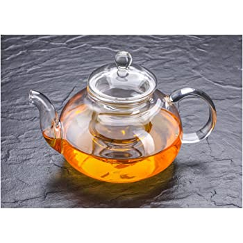 Tetera de cristal con infusor 550 ml filtro de t/é de vidrio de borosilicato resistente al calor para t/é suelto t/é floreciente y caf/é