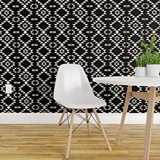 Spoonflower Peel and Stick Removable Wallpaper, Black and Off White Tribal Southwestern Modern Navajo Aztec Triangles Geometric Native Print, Self-Adhesive Wallpaper 24in x 36in Roll