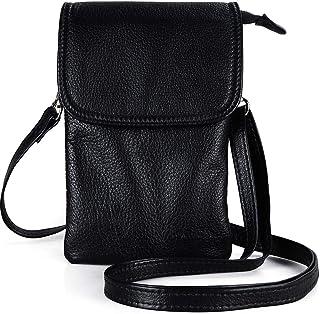 befen Echtleder Handytasche, kleine Handy Umhängetasche für Damen mit langem Gurt und Schlüsselring passend für Phone 8 Pl...