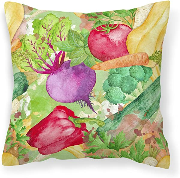 Caroline S Treasures BB7572PW1414 Watercolor Vegetables Farm To Table Outdoor Canvas Pillow Multicolor