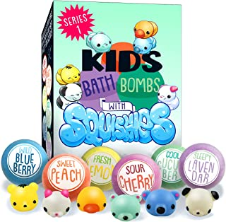 Kids Bath Bombs with Surprise SQUISHY Toys inside, Great Gift For Boys & Girls, for Birthday, Holidays & Christmas, in Gift Box, All Natural, Vegan, Handmade w Essential Oils, 6 XL Lush Color Fizzies
