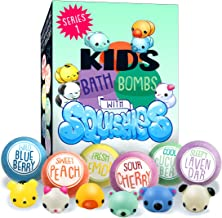 Kids Bath Bombs with Surprise SQUISHY Toys inside, Series 1, Gift For Boys. Girls, Birthday, Holidays & Christmas, in a Gift Box, All Natural, Vegan, Handmade w Essential Oils, 6 XL Lush Color Fizzies