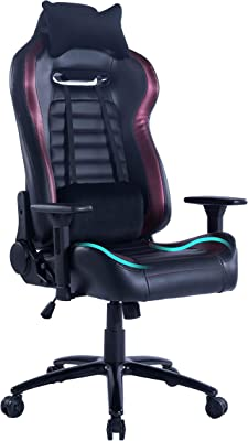Blue Whale Massage Gaming Office Chair Metal Base and Special Wave Support High Back Reclining Racing Game Computer Desk Chair,Ergonomic Leather Executive Chair with Headrest and Lumbar Pillow Wine