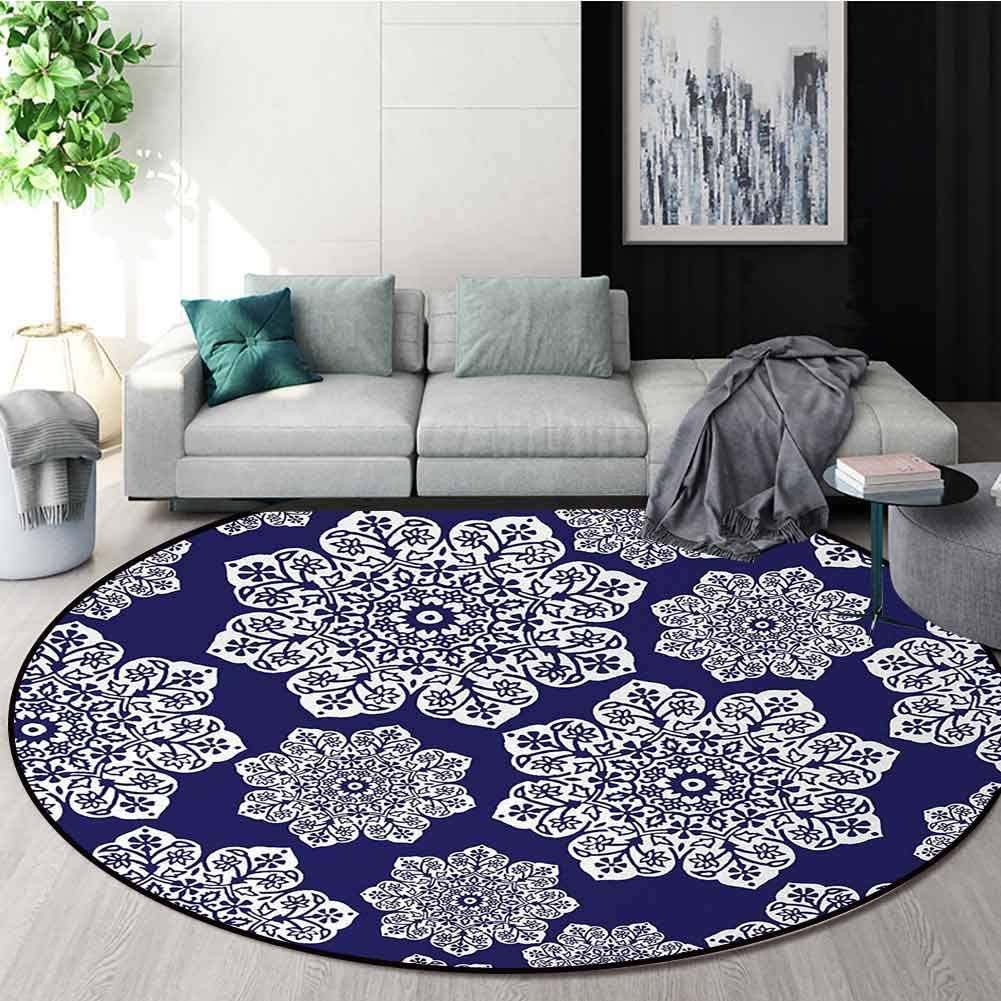 Navy Blue Art Deco Pattern Directly managed store Non-Slip Flor Round Washable Rug Omaha Mall Area