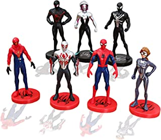 YongEnShang 7 Pieces Mini Super Heroes Action Figures,Spider-Man:Into The Spider-Verse Toy Sets to Kids Gift,Cake Decoration Toys