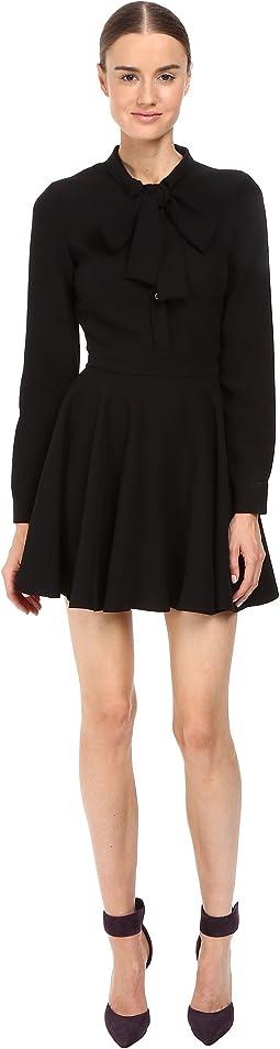 Tie-Neck Long Sleeve Dress