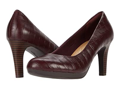 Clarks Adriel Viola (Burgundy Croc Leather) High Heels