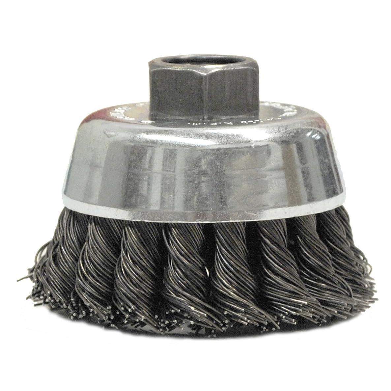 Weiler Steel Cup Brush - Threaded Arbor Attachment - 2 3/4 in Diameter - 5/8-11 UNC Center Hole - 0.014 in Bristle Diameter - Brush Style: Hurricane Twist - 13718 [PRICE is per EACH]