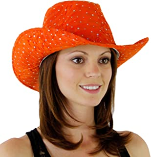 693da5a1d07a7 Greatlookz Fashion Glitter Sequin Trim Cowboy Hat for Ladies
