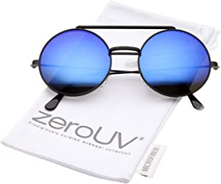Mid Size Flip-Up Colored Mirror Lens Round Django Sunglasses 49mm