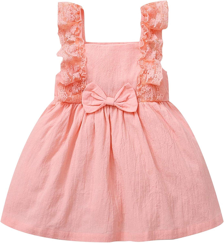 CARETOO Baby Girl Clothes 12M-4T Toddler Infant Girls Skirt Set Ruffles Short Sleeve Casual Dress: Clothing