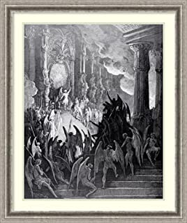 Framed Wall Art Print Satan in Council, from Book I of 'Paradise Lost' by John Milton, Engraved by Stephane Pannemaker c.1868 by Gustave Dore 26.75 x 31.88