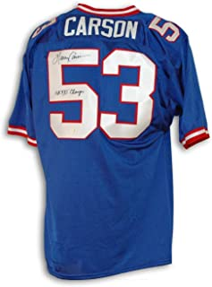 Harry Carson New York Giants Autographed Blue Throwback Jersey Inscribed SB XXI Champs - COA Included Signature - COA Included Signature